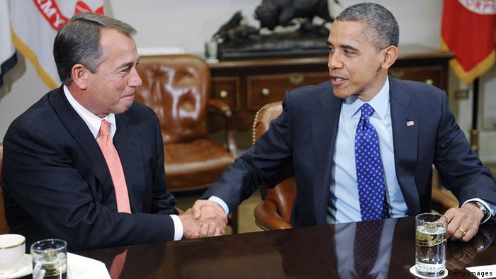 WASHINGTON - NOVEMBER 16: U.S. President Barack Obama (R) shakes hands with Speaker of the House John Boehner (R-OH) during a meeting with bipartisan group of congressional leaders in the Roosevelt Room of the White House on November 16, 2012 in Washington, DC. Obama and congressional leaders of both parties are meeting to reportedly discuss deficit reduction before the tax increases and automatic spending cuts go into affect in the new year. (Photo by Olivier Douliery-Pool/Getty Images)