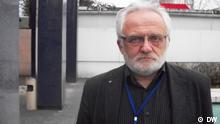 Vorsitzender des Koordinierengsausschusses der Nationalen Plattform im Forum der Zivilgesellschaft der Ostpartnerschaft Wladimir Mazkewitsch. Alle Fotos wurden von unserer Korrespondentin in Minsk Gennady Kessner, also - DW-Copyright. Bildbeschreibungen: In Minsk fand eine Konferenz der oppositionelle Bürgerplattform statt, die der Vorbereitung dieser Organisation auf den Ostpartnerschaft-Gipfel in Stockholm diente.