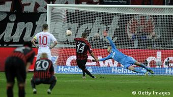 Alexander Meier of Frankfurt scores his team's fourth goal