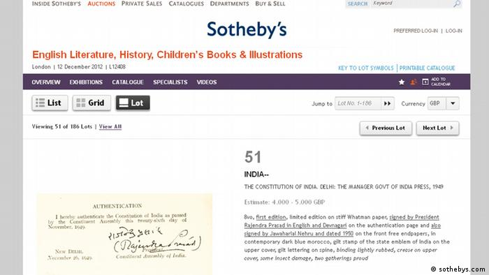 Screenshot www.sothebys.com Auktion Brief Ghandi