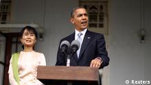 Obama und Aung San Suu Kyi PK in Yangon