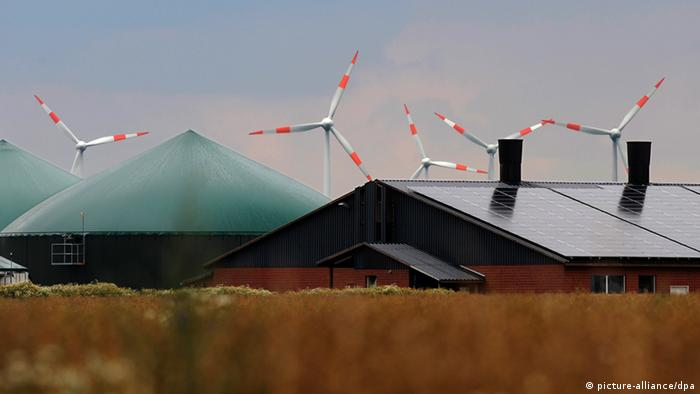 The green top of a farm building and flat farm building with solar panels atop it partially obscure far-off windmills. Photo: Ingo Wagner