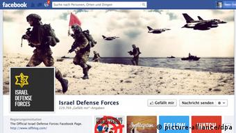 A Facebook page shows three Israeli soldiers running up a beach as fighter planes buzz them overhead.