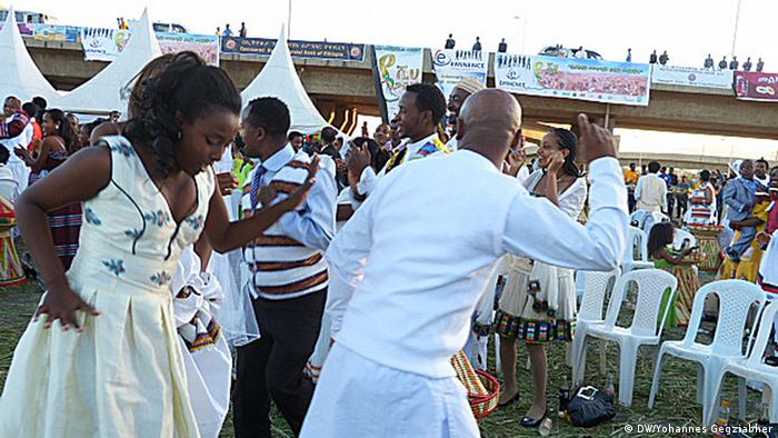 A freshly married couple dance at a wedding in Addis Abeba.