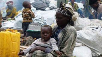 Refugiados num campo da ONU