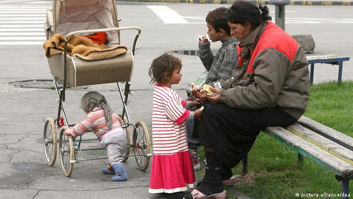 A Roma family in the center of Macedonian capitol Skopje