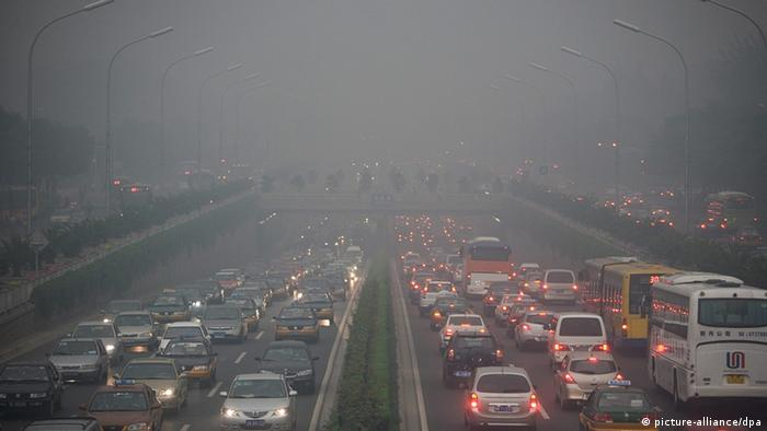 Traffic jam and air pollution in China