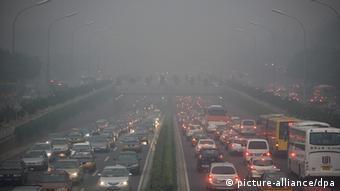 Motorway near Beijing, full of cars.