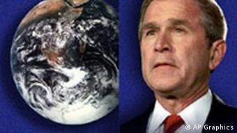 President George W. Bush next to Earth