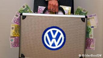 A briefcase with the VW logo has euro notes sticking out of it