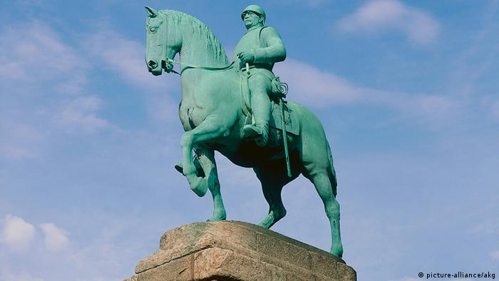 A stone statue in Bismarck commemorates the chancellor on horseback