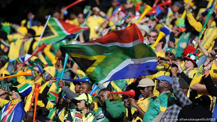 South African soccer fans at Match 34: France - South Africa