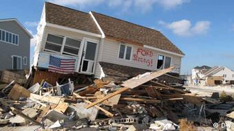 A house devastated by Hurricane Sandy in New Jersey, USA