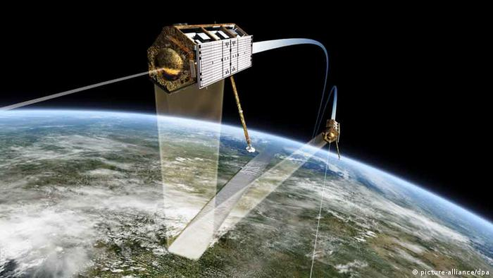 The graphic shows the satellites TanDEM-X and TerraSAR-X
