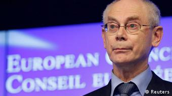 European Council President Herman Van Rompuy holds a news conference at the end of an EU leaders summit discussing the EU's long-term budget at the European Union (EU) council headquarters in Brussels November 23, 2012. EU leaders failed to reach agreement on a new seven-year budget for their troubled bloc, calling off talks in less than two days after most countries rejected deeper spending cuts demanded by Britain and its allies. REUTERS/Sebastien Pirlet (BELGIUM - Tags: POLITICS BUSINESS)