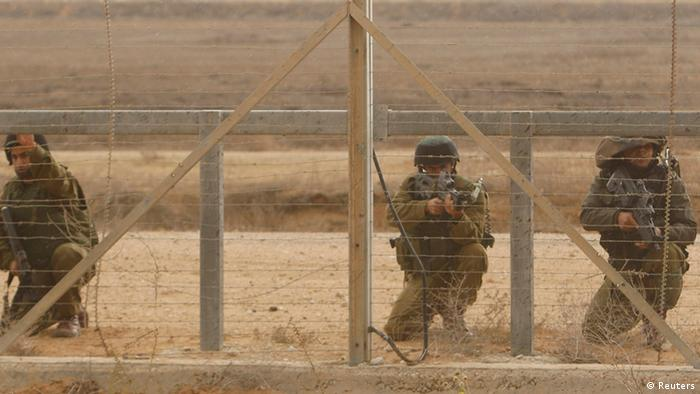 Israeli soldiers along the heavily guarded Gaza Strip