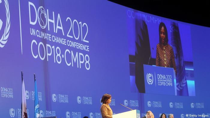 United Nations Convention on Climate Change Executive Secretary Christiana Figueres delivers a speech during the opening ceremony of the 18th United Nations Convention on Climate Change in Doha on November 26, 2012. Nearly 200 world nations launched today a new round of talks to review commitments to cutting climate-altering greenhouse gas emissions. The two-week conference comes amid a welter of reports warning that extreme weather events like superstorm Sandy may become commonplace if mitigation efforts fail. AFP PHOTO / AL-WATAN DOHA / KARIM JAAFAR == QATAR OUT == (Photo credit should read KARIM JAAFAR/AFP/Getty Images)