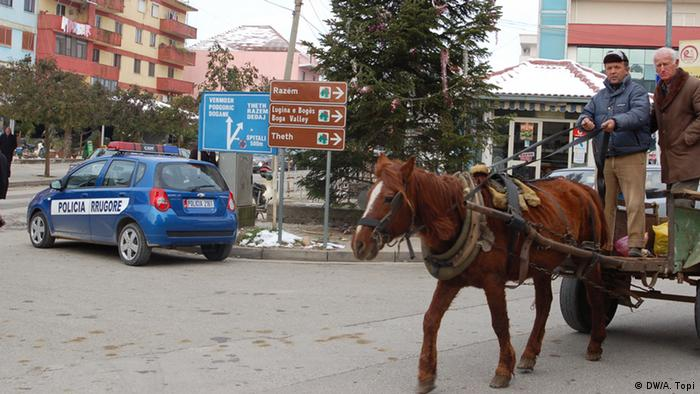 Street scene in Koplik, North Albania, 2011