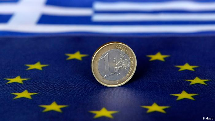 EU and Greek flag, with a euro coin standing on them