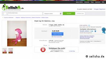 Screenshot des islamischen Aktionshauses SelishA. Auktion für ein Hijab Cap für Mädchen Datum: 27.11.2012 Link: http://selisha.de/Hijab-Cap-fr-Mdchen-rosa,name,27146,auction_id,auction_details