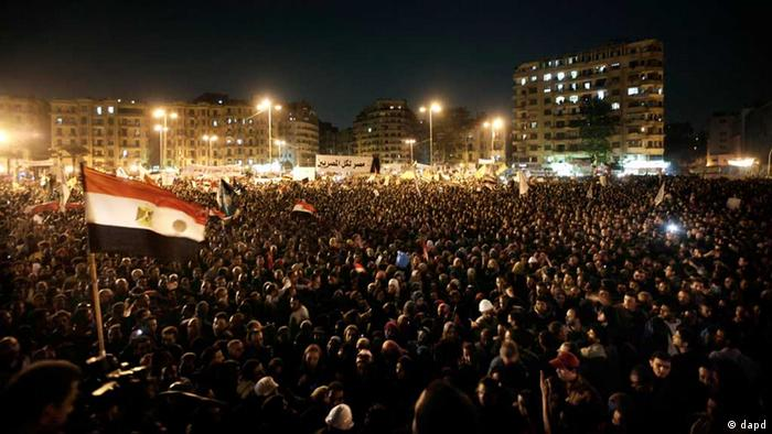 Masses of people demonstrate on Tahrir Square in Cairo