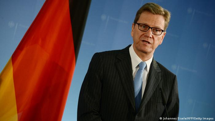 German Foreign Minister Guido Westerwelle attends a press conference with Afghanistan's counterpart in Berlin on November 26, 2012. AFP PHOTO / JOHANNES EISELE (Photo credit should read JOHANNES EISELE/AFP/Getty Images)