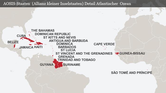 Karte AOSIS Staaten Detail Atlantik