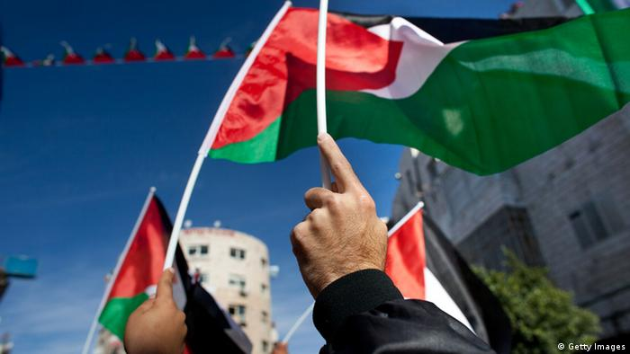 Palestinians wave their national flag during a rally on November 29, 2012 in Ramallah, West Bank. (Photo by Uriel Sinai/Getty Images)