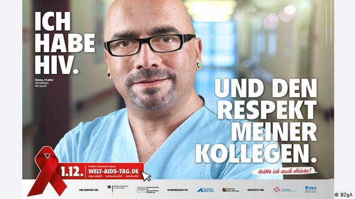 Plakat mit Manny, einem HIV-Infizierten, für die Kampagne zum Welt-Aids-Tag 2012 (Foto: BZgA)