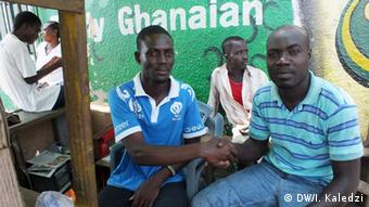 Friends but political opponents Abraham Commey and Benjamin Quaye Photo: Isaac Kaledzi, DW Korrespondent in Accra.