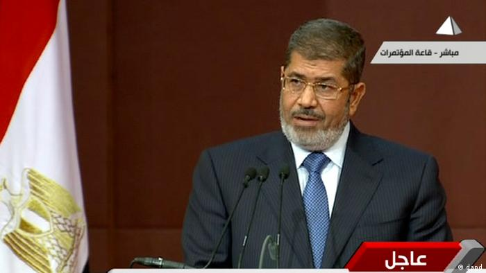 In this image made from a live broadcast on Egyptian State Television, President Mohammed Morsi speaks to the constituent assembly in Cairo (Photo: Egyptian State Television/AP/dapd)
