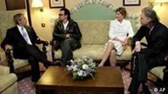 George Bush trifft Geldof und Bono auf G8-Gipfel