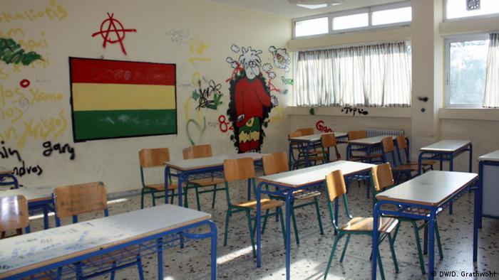 classroom, with desks etc but no students : Daphne Grathwohl