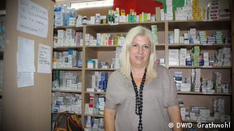 Elena Bazakopoulou in the clinic's pharmacy (MKI)