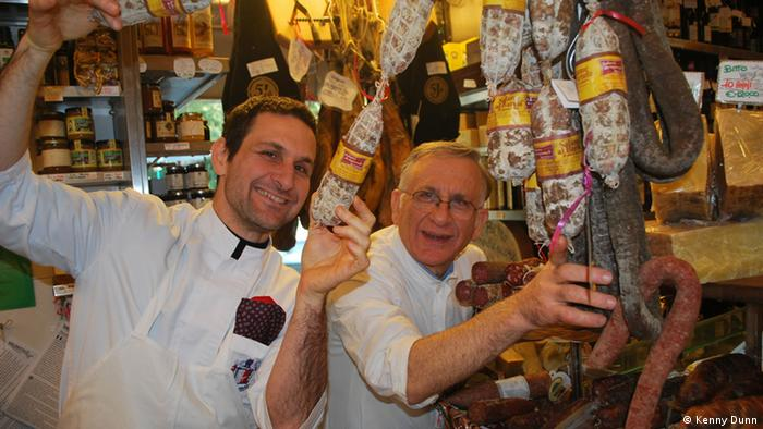 Inside Volpetti in Rome with Alessandro and Emilio: Salamis hanging in Rome's Volpetti gourmet food store, Rom 2012; (Photo: Kenny Dunn)