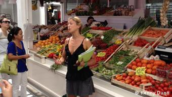 Sarah in the market for the food tour: Sarah one of the guides in Testaccio market for the food tour (Photo: Kenny Dunn Rome, 2012)
