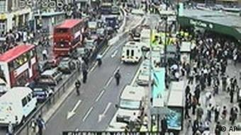 Traffic camera image from video over the Kings Cross station area in London after it was closed following an explosion, Thursday July 7, 2005.