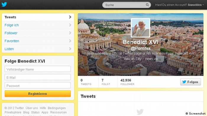 https://twitter.com/Pontifex - A screenshot of the Pope's English-language Twitter homepage, taken on Monday December 3, 2012, the day it was opened.
