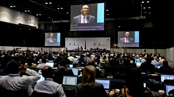 Participants listen to the speech of Hamdoun Toure, Secretary General of International Telecommunication Union, ITU (Photo:Kamran Jebreili/AP/dapd)