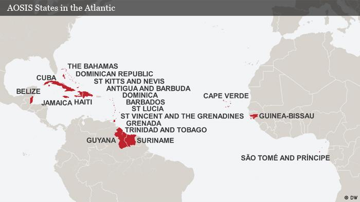 Map AOSIS States in the Atlantic