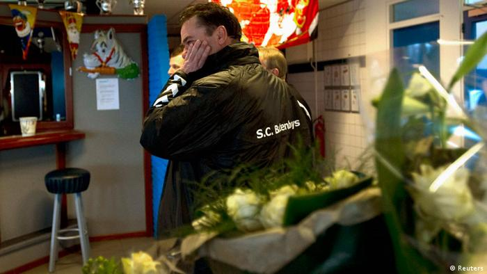 A member of the Buitenboys is seen at the soccer club in Almere December 4, 2012. Three teenaged soccer players of the Nieuw-Sloten Amsterdam youth team will be charged with manslaughter, assault or public violence after the death of a linesman during a youth competition, a Dutch prosecutor said on Tuesday. Richard Nieuwenhuizen, 41, died on Monday after an incident following an Under-17 match in Almere on Sunday. He was officiating for the Buitenboys team, in which his son was playing. REUTERS/Toussaint Kluiters/United Photos (NETHERLANDS - Tags: SPORT SOCCER CRIME LAW)