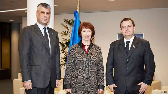 Hashim Thaci, Catherine Ashton Ivica Dačić nakon razgovora u Briselu.