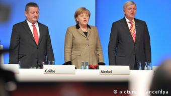 Gröhe, Merkel and Bouffier at the CDU party convention in 2012