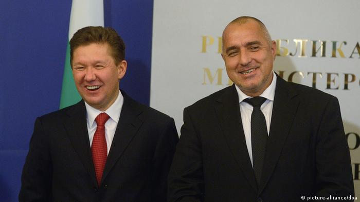 Oh happy day! Then Bulgarian PM Boyko Borisov (R) and Alexey Miller (L), CEO of Gazprom during the official signing of the contract for the South Stream pipeline (picture-alliance/dpa)