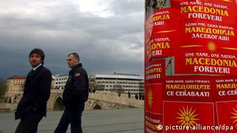 Plakat u Skopju: jedno ime, jedna nacija, Makedonija zauvijek