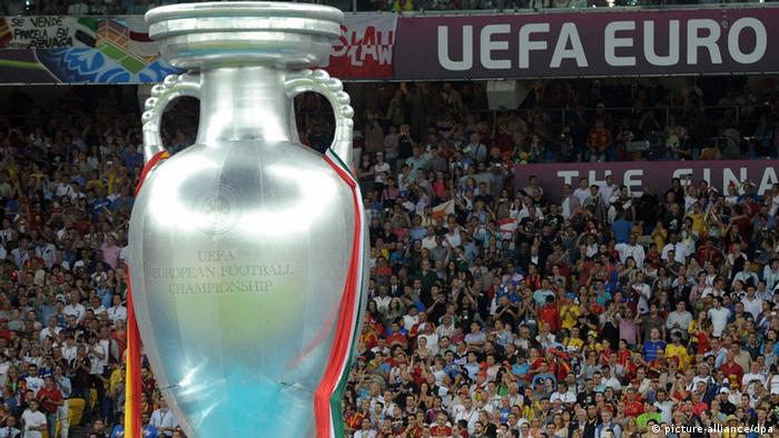 The trophy (Cup) at the final match of the UEFA European Football Championship (Euro 2012 final), at the Olympic Stadium in Kiev. (Photo ITAR-TASS/Artyom Korotayev)
