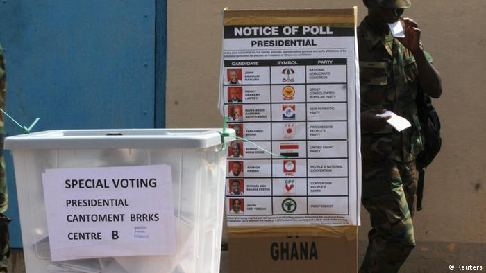 A soldier prepares to vote (Photo: REUTERS/Luc Gnago GHANA)