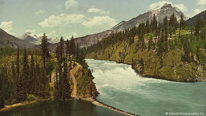 Falls of the Bow River, Banff, Alberta.1 photomechanical print : photochrom, color. Copyright 1902 by Detroit Photographic Co.