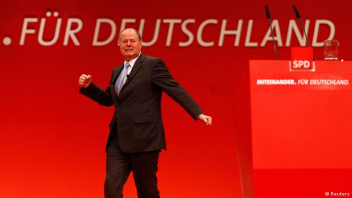 Designated top candidate of the German Social Democratic Party (SPD) for the 2013 German general elections, Peer Steinbrueck delivers his speech during the extraordinary party meeting of the SPD in Hanover, December 9, 2012. (Photo: REUTERS/Kai Pfaffenbach)