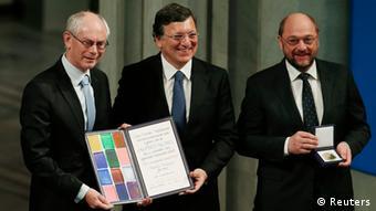 European Council President Herman Van Rompuy (2nd R), European Parliament President Martin Schulz (2nd L), and European Commission President Jose Manuel Barroso (C) REUTERS/Berit Roald/NTB Scanpix/Pool